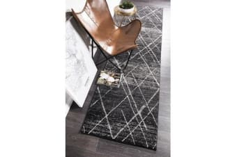 Amelia Charcoal & Grey Abstract Durable Runner Rug 300x80cm