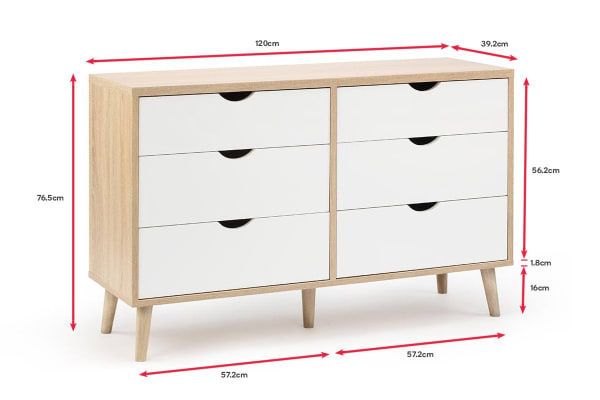 Shangri-La Chest of 6 Drawers - Nyhavn Collection (White & Oak)