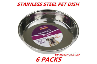 6 x Heavy Duty Metal Stainless Steel Dog Cat Pet Puppy Dish Food Water Bowl Plate