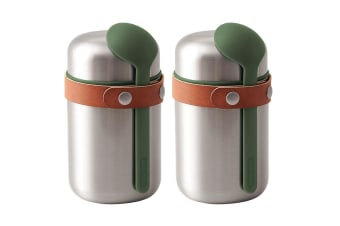 2x Black + Blum 400ml Vacuum Insulated Stainless Steel Food Flask w  Spoon Green