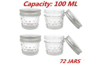 72 x SMALL 100ML QUILTED CONSERVE JAM CANDLE MAKING GLASS JARS JAR CANDY PARTY EVENT