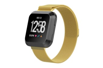 Milanese Loop Metal Replacement Bracelet Strap Wristbands For Fitbit Versa Fitness Smart Watch Gold Small Size