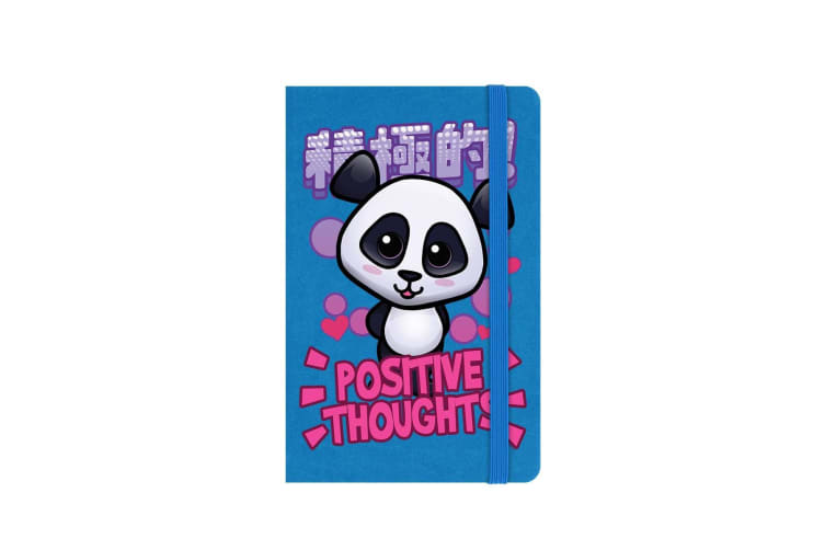 Handa Panda Positive Thoughts A6 Hard Cover Notebook (Blue) (One Size)
