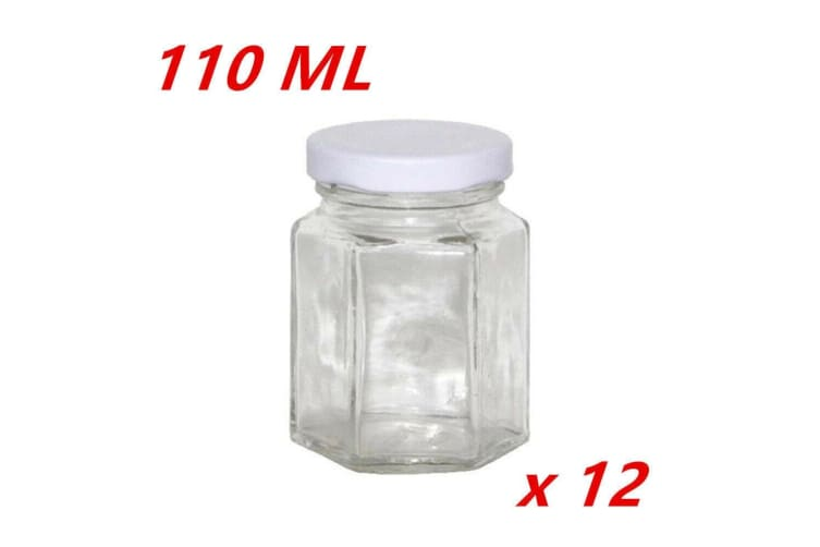 12 x 110ML Hexagon Shaped Clear White Screw Lid Lolly Storage JAR Small Favor Party