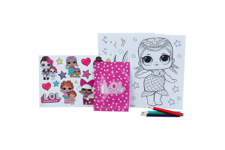 2x LOL Surprise Fun/Gift Bag Colouring Pencils/Sticker Sheets f/ Kids/Unisex 3y+