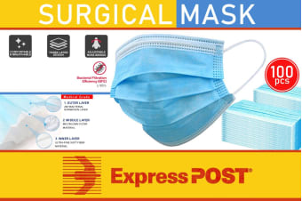 100 Pcs Disposable Surgical Dental Medical Face Mask 3-Layer (EXPRESS SHIPPING)