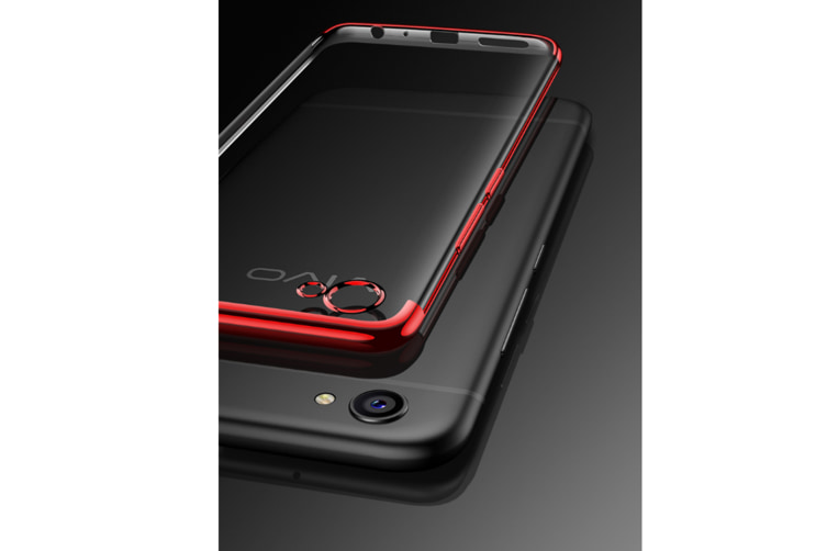 Three Section Of Electroplating Tpu Slim Transparent Phone Shell For Vivo Black Vivo F7