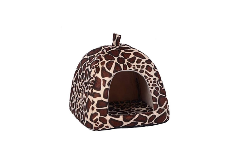 Strawberry Style Sponge House Pet Bed Dome Tent Warm Cushion Basket Leopaddr Print L