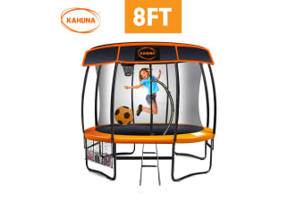 Kahuna Trampoline 8 ft with Basketball set and Roof - Orange
