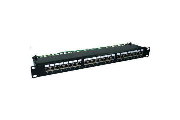 "Dynamix 24 Port Cat6 Shielded Patch Panel 19"". T568A & T568B Wiring. 1RU. 110 termination"