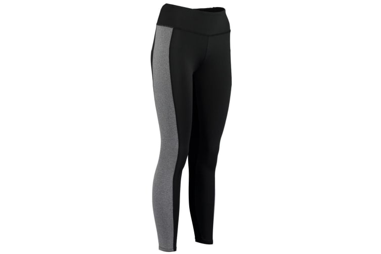 Gamegear Womens Contrast Full Length Legging (Black/Grey Melange) (6 UK)