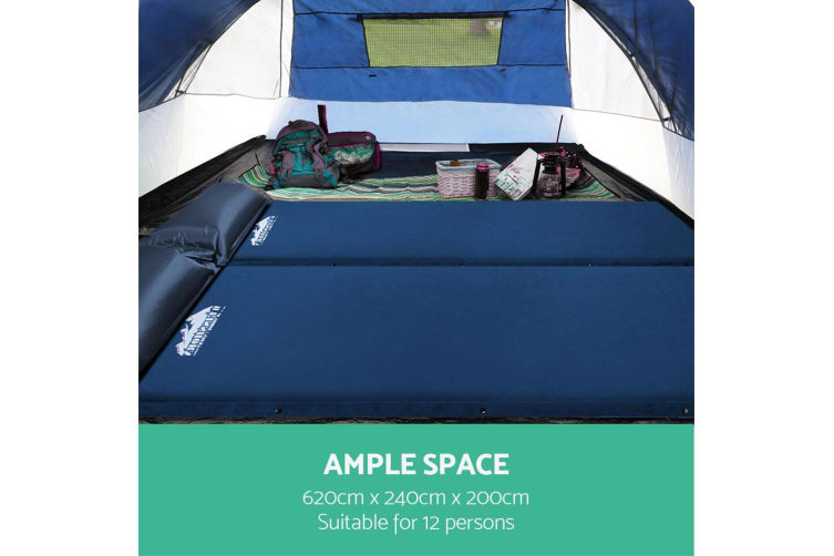 Weisshorn 12 Person Canvas Dome Camping Tent - Navy and Grey