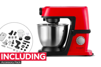 Kogan 1200W Deluxe Stand Mixer with Accessory Pack (Red)