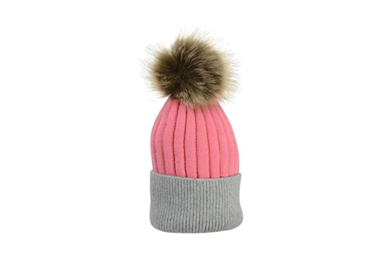 HyFASHION Adults Luxembourg Luxury Bobble Hat (Coral/Charcoal) (One Size)