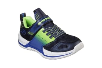 Skechers Boys Nitrate 2.0 Gore & Strap Trainer (Navy/Lime) (12.5 Child UK)
