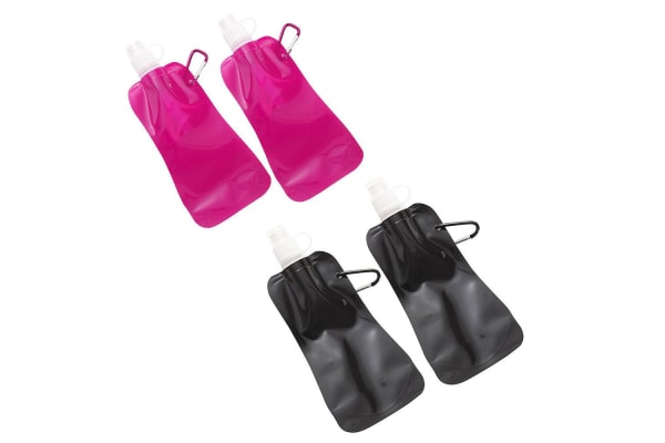 4x Doozie 450ml Collapsible Camping Water Drink Bottle Gym Sport Pink Black