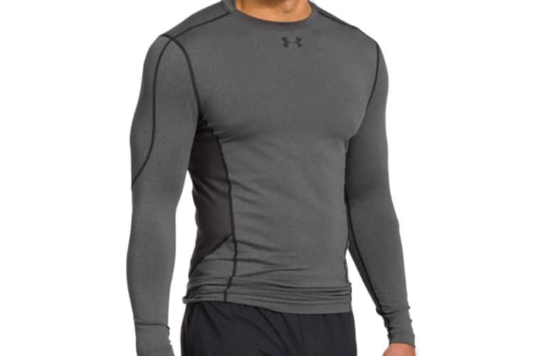 Under Armour Men's UA ColdGear Evo LS Hybrid Mock Compression Shirt (Carbon Spacedye, Size 2XL)