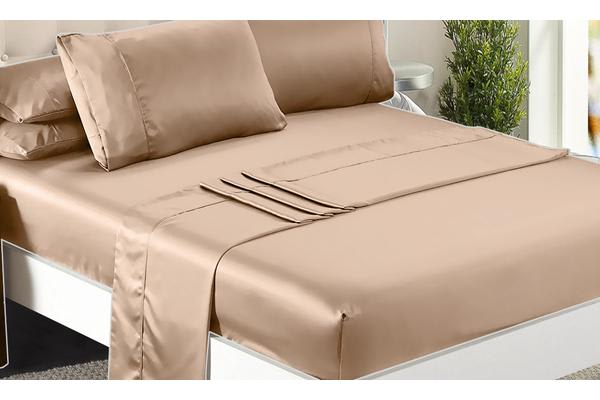 Luxury Super Soft Silky Satin Fitted/ Flat Sheet Pillowcases Bed Set GOLD Double