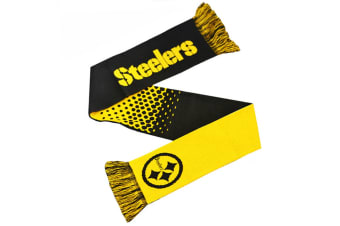 NFL Pittsburgh Steelers Fade Knitted Football Crest Scarf (Grey/Yellow) (One Size)
