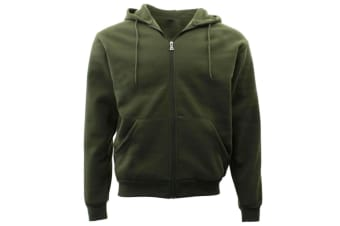 Adult Unisex Men's Zip Up Hoodie w Fleece Hooded Jacket Jumper Basic Blank Plain - Olive