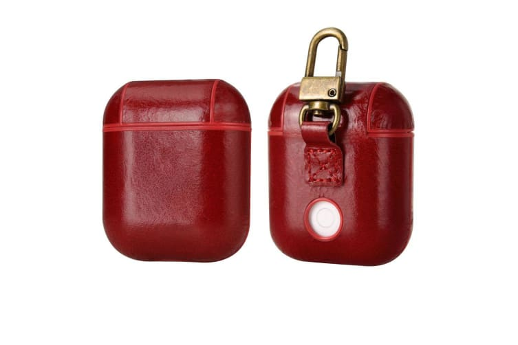 For Apple AirPods 1/2 Case  Genuine Leather Shockproof Box  Red with Hook