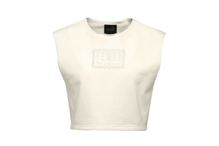 Puma Women's Sleeveless Fenty Cropped Crew Neck (Vanilla Ice, Size L)
