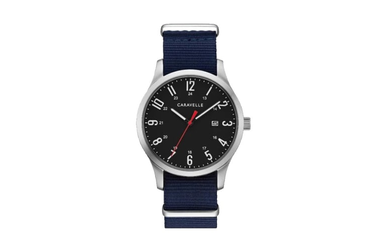 Caravelle Men's 40mm Analog Quartz Watch with Two Interchangeable Straps - Navy & Olive/Stainless Steel (43B160)