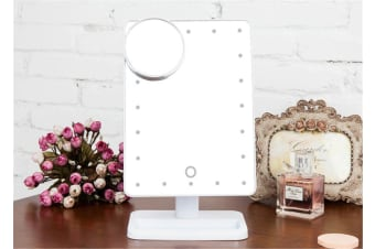 20 Led Light Make Up Cosmetic Mirror W/ 10X Magnification Battery Power White