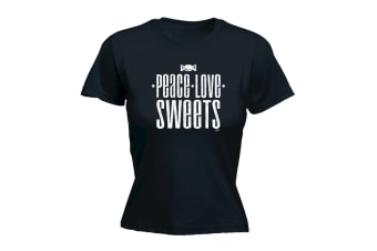 123T Funny Tee - Peace Love Sweets - (Small Black Womens T Shirt)