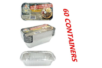 60 x Aluminum Foil Trays BBQ Disposable Roaster takeaway Oven Baking Party Lids WMCV