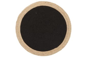 Round Jute Natural Rug Black 120x120cm