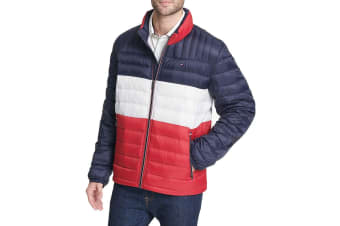 Tommy Hilfiger Men's Ultra Loft Packable Down Jacket (Midnight/White/Red)