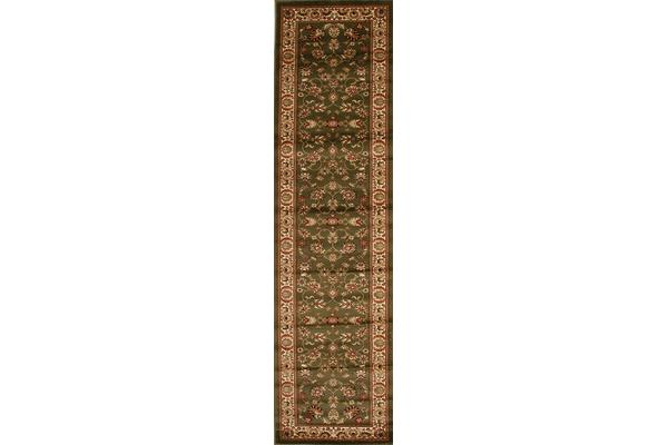 Traditional Floral Pattern Runner Green 300x80cm