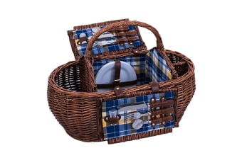 Avanti 4 Person Round Wicker Picnic Basket Willow W Blanket Cups Plates Cutlery