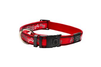 Rogz Graphic Adjustable Dog Collar (Red Bone) (10-16in)