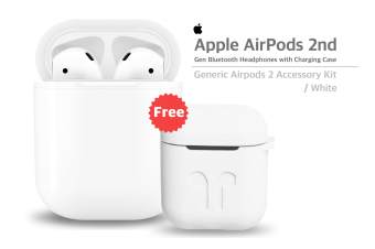 Apple Airpods 2 Bluetooth Wireless Earphone + Generic Protective Silicone Cover For AirPods 2 - White