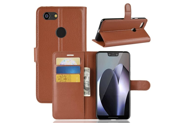 new product 2b56d c3e5b For Google Pixel 3 XL Leather Wallet Case Brown Lychee Cover Stand Card  Slots