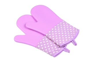 Extra Long Quilted Cotton Lining Heat Resistant Silicone Oven Mitts Purple