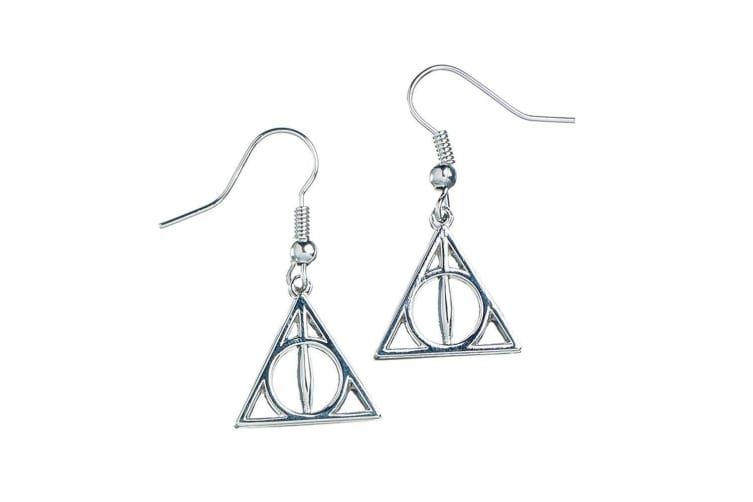 Harry Potter Silver Plated Deathly Hallow Earrings (Silver) (One Size)