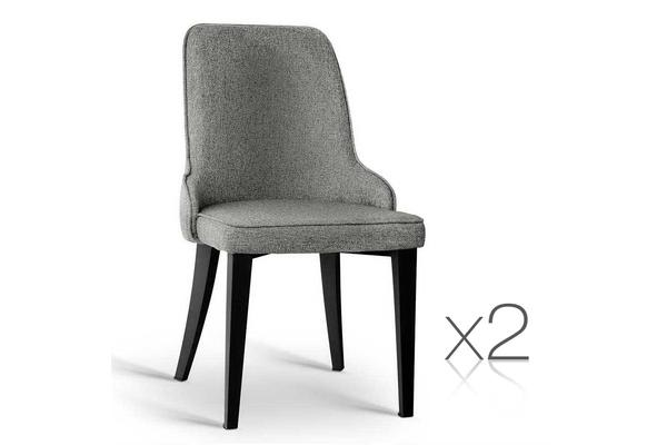 Set of 2 Linen Fabric Dining Chair (Grey)