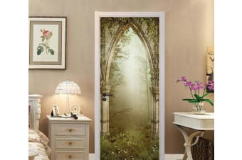 3D Forest Stone Arch Door Mural Self-adhesive Vinyl, L 205cm x 77cm (HxW)(81''x30'')