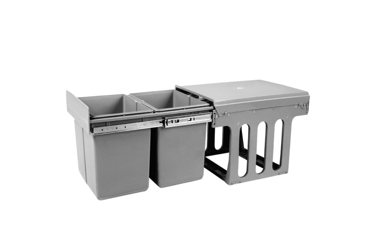 Twin Pull Out Bin Kitchen Double Dual Slide Garbage Rubbish Waste Basket 2X15L