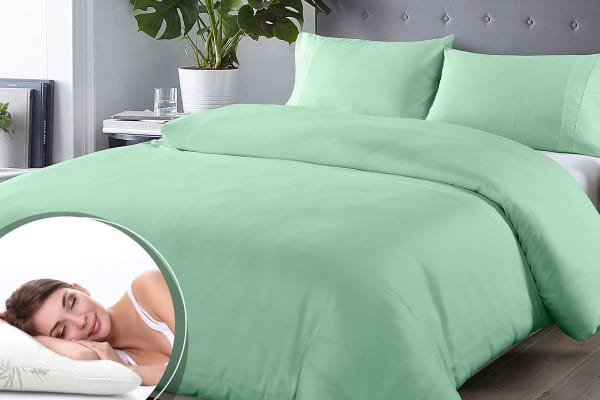 Royal Comfort Blended Bamboo Quilt Cover Set + Bamboo Pillow Twin Pack (King, Green Mist)