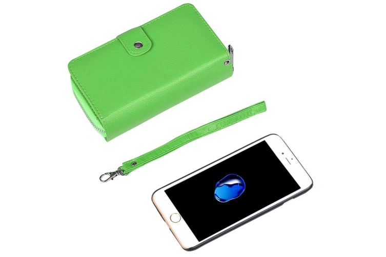 For iPhone 8 7 Wallet Case Multifunctional Separable Durable Leather Cover Green