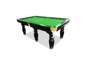 10FT Luxury Slate Pool Table Solid Timber Billiard Table Professional Snooker Game Table with Accessories Pack, Black Frame / Green Felt