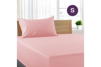 Single Size Light Pink Color Poly Cotton Fitted Sheet Flat Sheet Pillowcase Sheet Set