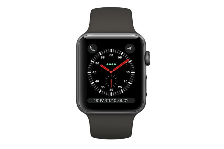 Apple Watch Series 3 (Space Grey, 42mm, Grey Sport Band, GPS Only)