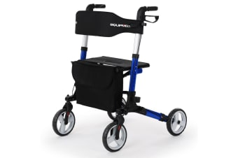 EQUIPMED Rollator Walking Frame Walker Foldable Seat Mobility Aid Aluminium Blue