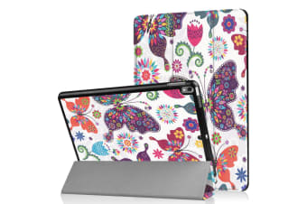 For iPad Air 3 (2019) Case Folio PU Leather 3-folding Sleep/Wake Cover Butterfly