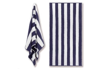 Canningvale Cotton Terry Beach Towel - Cabana Stripe Navy